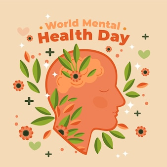 Hand drawn world mental health day with head and leaves