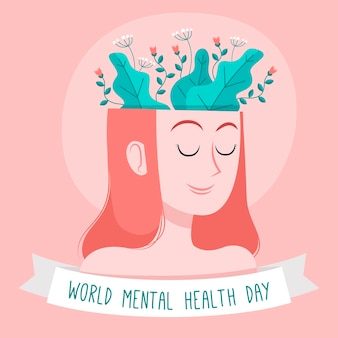 Hand drawn world mental health day with woman head and plants