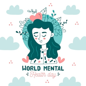 Hand drawn world mental health day