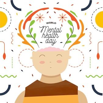 Giornata mondiale della salute mentale disegnata a mano