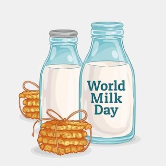 手描きの世界のミルクの日のイラスト