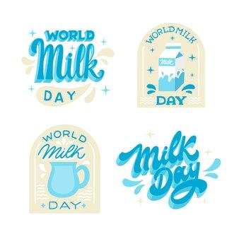 Collezione di etichette per la giornata mondiale del latte disegnata a mano