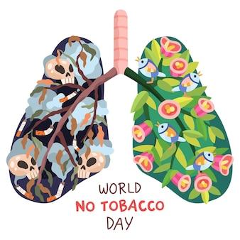 Нарисованная рукой иллюстрация дня без табака