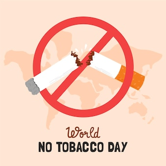 Hand drawn world no tobacco day illustration