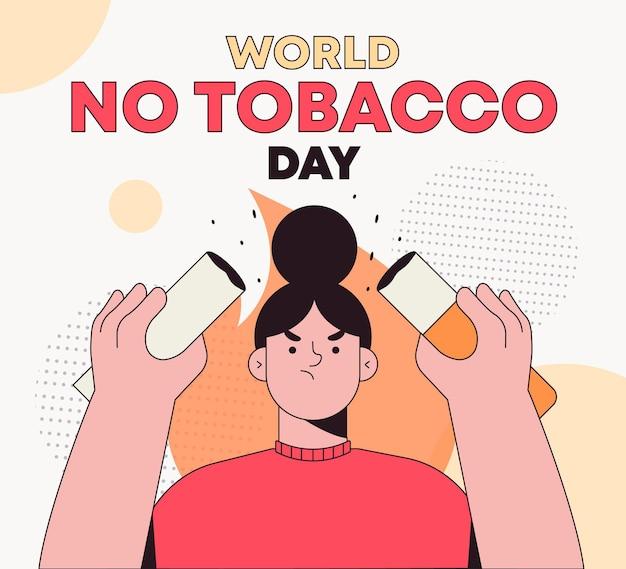 手描きの世界禁煙デーのイラスト