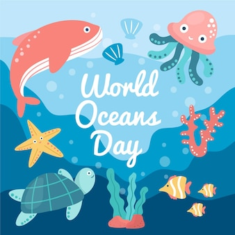 Hand drawn world oceands day concept