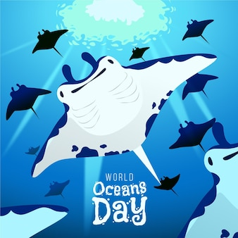Hand drawn world oceans day background