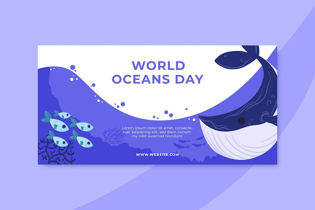 Hand drawn world oceans day banner template