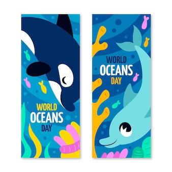 Modello di banner giornata mondiale degli oceani disegnato a mano