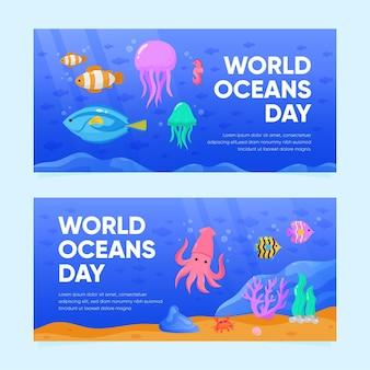 Ручной обращается всемирный день океана баннер