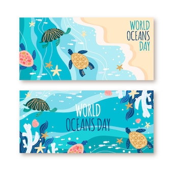 Hand drawn world oceans day banners set