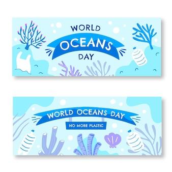 手描きの世界海洋デーバナーセット