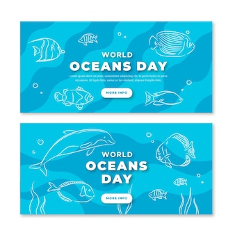 Hand drawn world oceans day banners