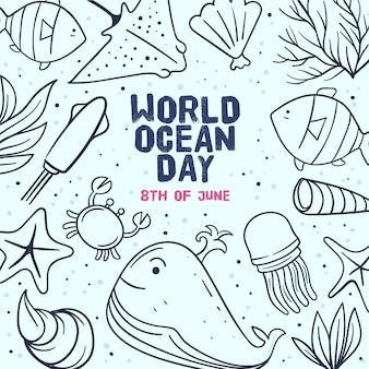 Нарисованная рукой концепция дня мирового океана