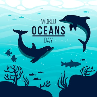 Hand drawn world oceans day illustration
