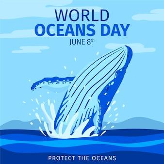 Illustrazione disegnata a mano della giornata mondiale degli oceani
