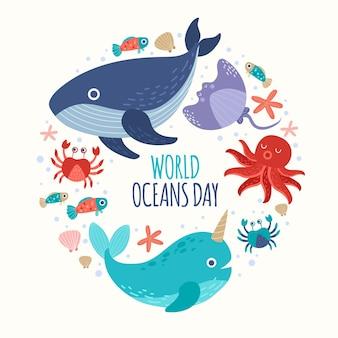 Hand drawn world oceans day illustration