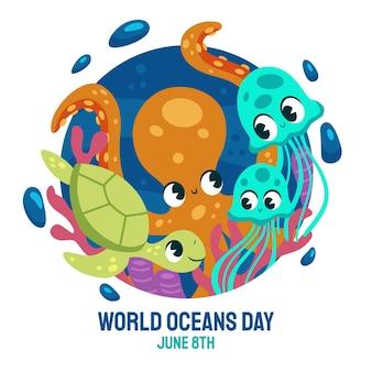 손으로 그린 세계 바다의 날 그림