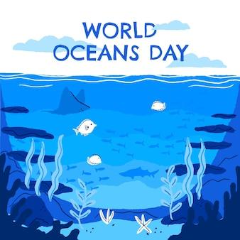 Нарисованная рукой иллюстрация всемирного дня океанов