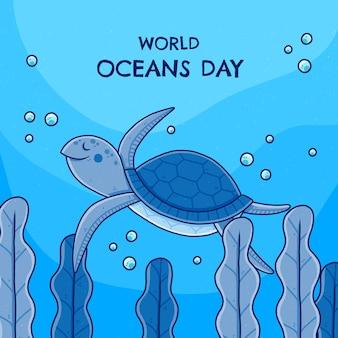 手描きの世界海洋デーのイラスト