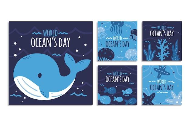 手描きの世界海洋デーのinstagramの投稿コレクション 無料ベクター