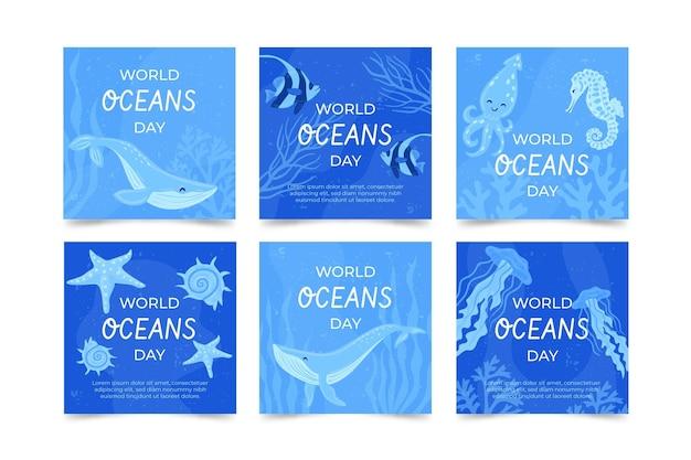 손으로 그린 세계 해양의 날 instagram 게시물 모음