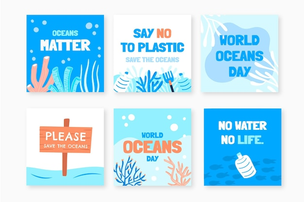Hand drawn world oceans day instagram posts collection