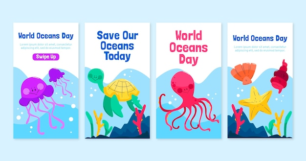 Hand drawn world oceans day instagram stories collection