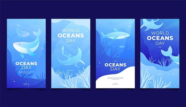 Raccolta di storie di instagram di giornata mondiale degli oceani disegnata a mano