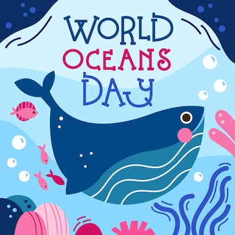 Hand drawn world oceans day wallpaper