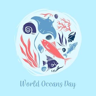 手描きの世界海の日