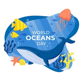 Hand drawn world oceans day