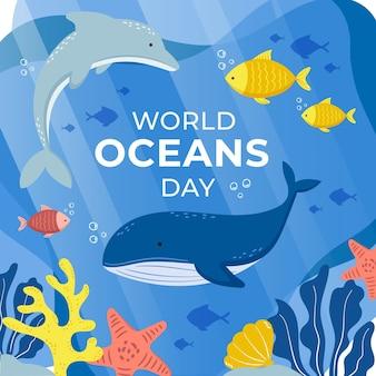 Hand drawn world oceans day
