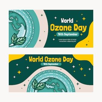 Set di banner per la giornata mondiale dell'ozono disegnati a mano