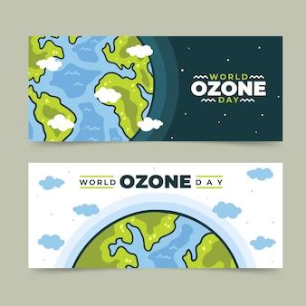 手描きの世界オゾンデー水平バナーセット
