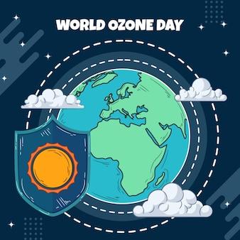 Нарисованная рукой иллюстрация всемирного дня озона