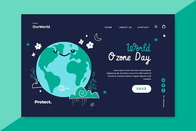 Hand drawn world ozone day landing page template