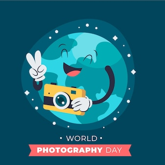 手描きの世界写真の日のコンセプト