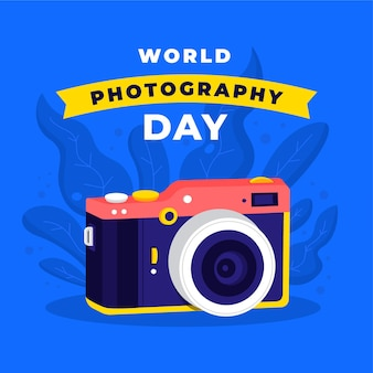 Hand drawn world photography day concept