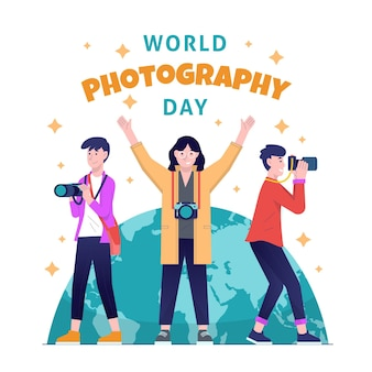 Hand drawn world photography day