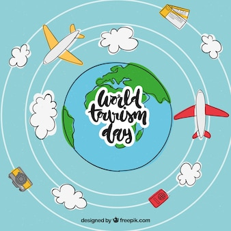 Mano disegnata mondo e aerei