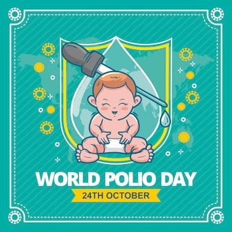 手描きの世界ポリオの日のイラスト