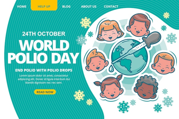 Hand drawn world polio day landing page template
