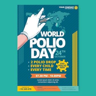 Modello di poster verticale della giornata mondiale della polio disegnato a mano