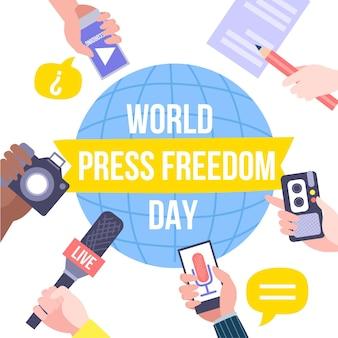 Hand drawn world press freedom day illustration