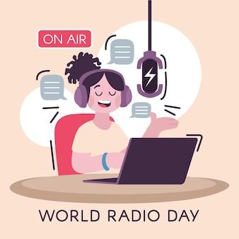 手描きの世界ラジオの日のイラスト