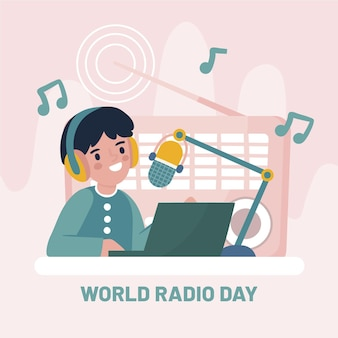 Giornata mondiale della radio disegnata a mano con carattere