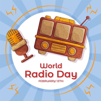 Hand drawn world radio day with microphone background