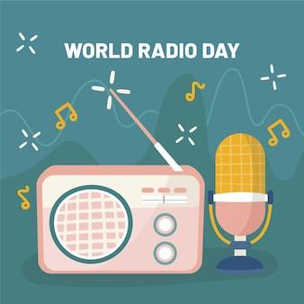 마이크와 함께 손으로 그린 세계 라디오의 날