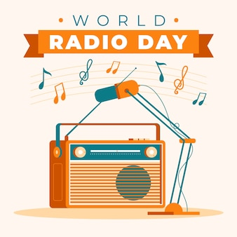 Hand drawn world radio day with retro cassette player